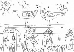 Omaľovánka o vtáčikoch na stiahnutie