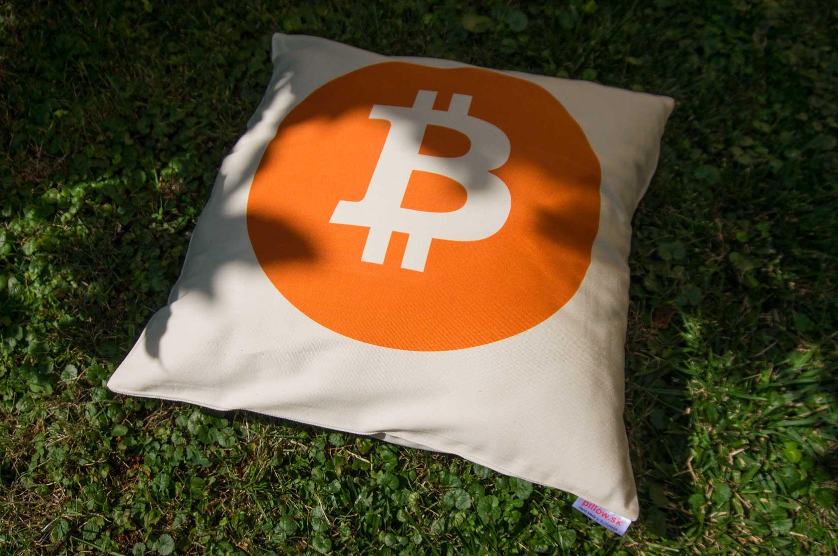 Vankúš s logom Bitcoin - kvalitná bavlna a ručná práca
