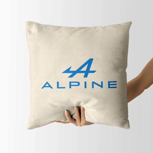 Biely vankúš s logom teamu Alpine F1 Team