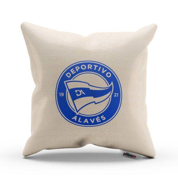 Deportivo Alavés s modrým logom na vankúši