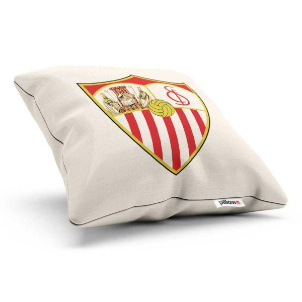 Dekoračný vankúšik s logom Sevilla FC v bielej farbe