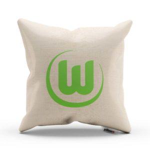 Vankúš VfL Wolfsburg so zeleným logom futbalového klubu