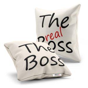 Darčekové bavlnené vankúše s nápisom The Boss