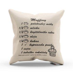 Bavlnený vankúšik s vtipným receptom na Muffiny