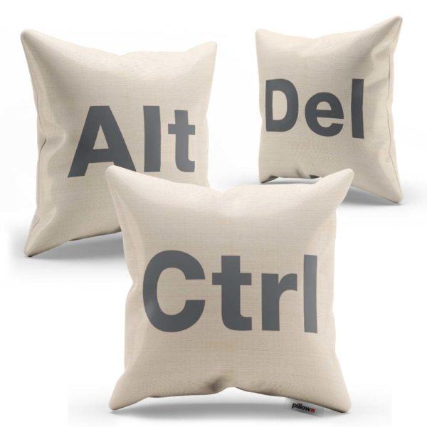 Súprava vankúšikov CTRL ALT DEL s šedým nápisom ušitá z kvalitnej bavlny
