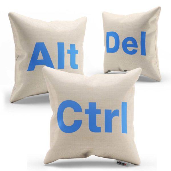 Súprava vankúšikov CTRL ALT DEL s slabo modrým nápisom ušitá z kvalitnej bavlny