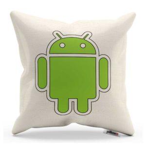 Logo na dekoratívnom bielom vankúši so zeleným Androidom poteší fanúšikov značky