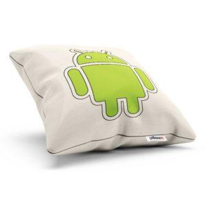 Logo na bavlnenom vankúši so zeleným Androidom poteší fanúšikov značky
