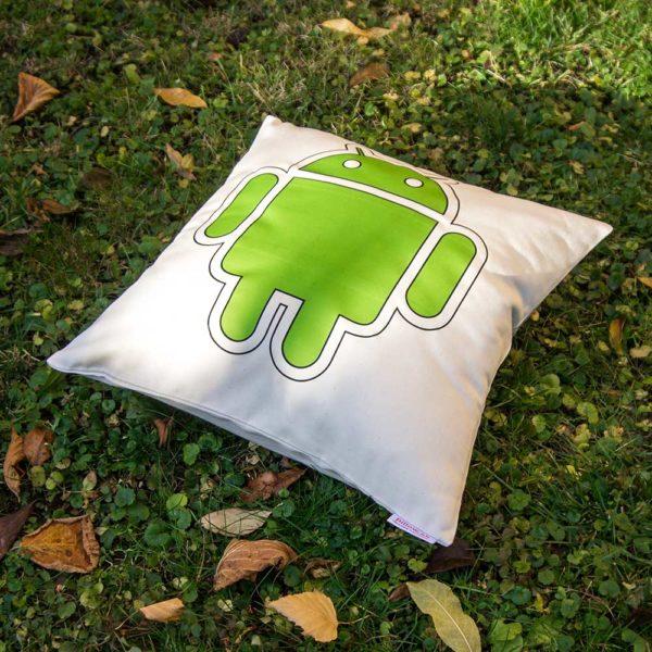 Logo na bavlnenom vankúši so zeleným Androidom - darček čo poteší