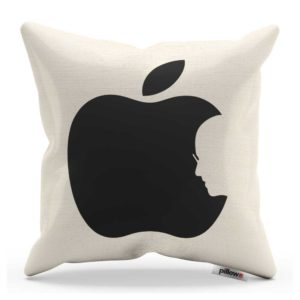 Biely vankúšik Apple z kvalitnej bavlny pre všetkých fanúšikov svetovej značky