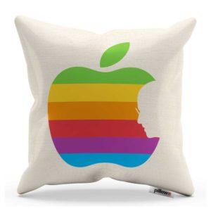 Biely vankúšik s farebným logom Apple z kvalitnej bavlny pre všetkých fanúšikov svetovej značky