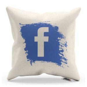Nezameniteľný vankúšik Facebook z kvalitnej bavlny s modrým logom