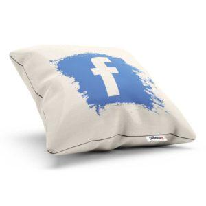 Jedinečný vankúši Facebook z kvalitnej bavlny s modrým logom