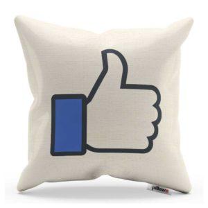 Biely bytový doplnok vankúšik s modrým logom Facebook Like ktoré každý pozná