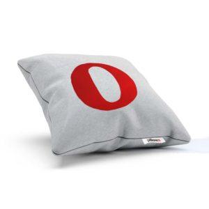Bielo červený dekoračný vankúš s logom kvalitného internetového prehliadača Opera