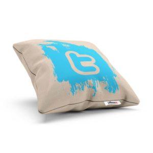 Vankúšik s emblémom Twitter pre každého správneho geeka ušitý z kvalitnej bavlny