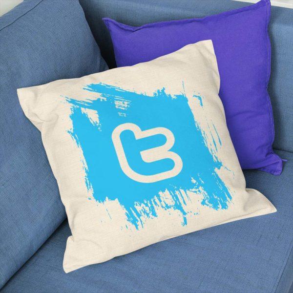 Vankúšik so symbolom Twitter pre správneho geeka ušitý z kvalitnej bavlny