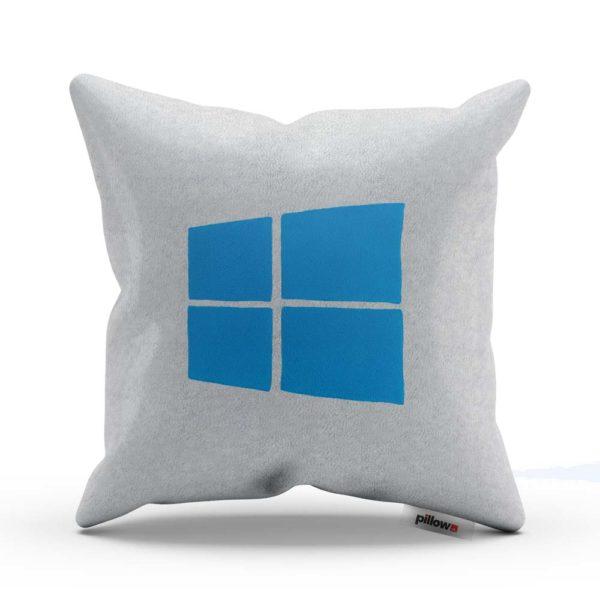 Biely vankúšik s modrým logom Windows pre každého milovníka tohto operačného systému