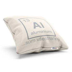 Bavlnený vankúšik s obliečkou a nápisom aluminium
