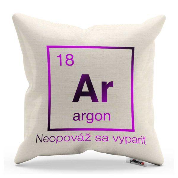Vankúšik s chemickým prvkom Argón a veľavravným nápisom