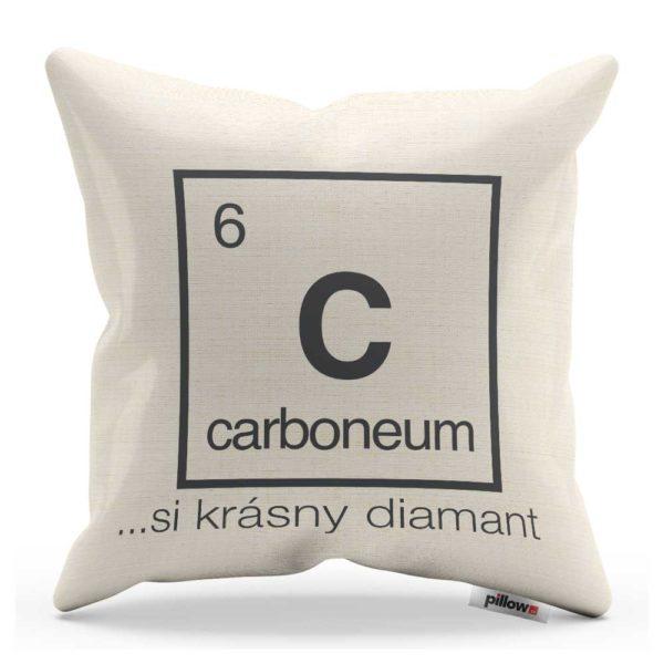Vankúš s chemickým prvkom Uhlík a vtipným nápisom