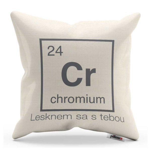 Vankúš s chemickým prvkom Chróm a odkazom v lesku