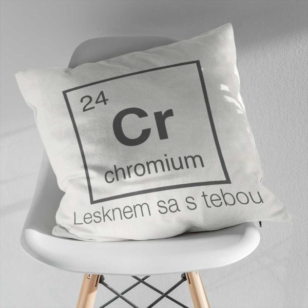Vankúš s chemickým prvkom chromium a lesklým odkazom