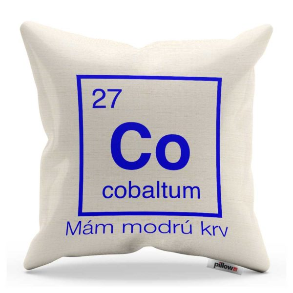 Vankúš s chemickým prvkom Kobalt a vtipný nápis