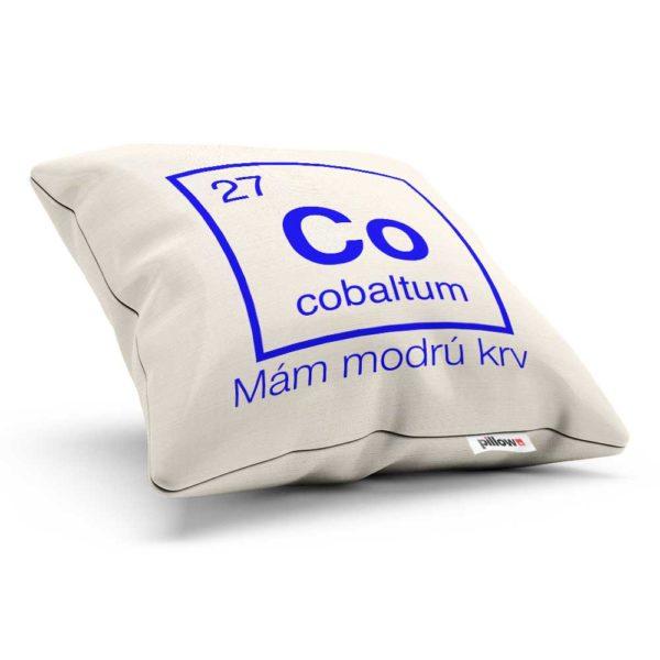 Vankúšik s chemickým prvkom cobaltum a vtipný nápis