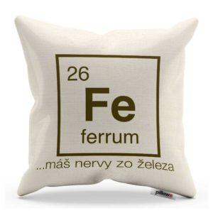 Vankúš s chemickým prvkom Železo a vtipný nápis