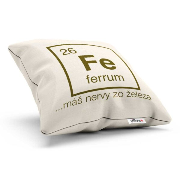 Vankúšik s chemickým prvkom Ferrum a vtipným odkazom