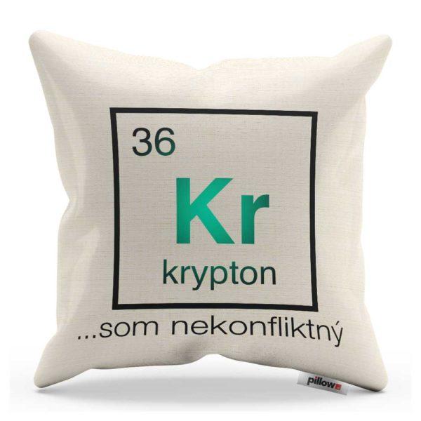 Vankúšik s chemického prvku Kryptón s veľavravným nápisom
