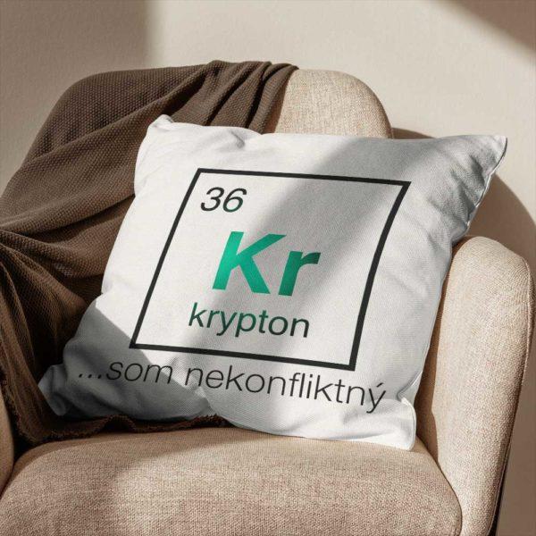 Vankúš s chemickým prvkom Kryptón a vtipné posolstvo