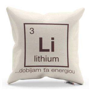 Vankúš s chemickým prvkom Lítium a vtipným nápisom