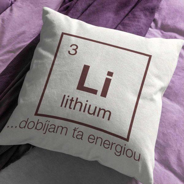 Vankúš s chemickým prvkom Lítium a energickým nápisom