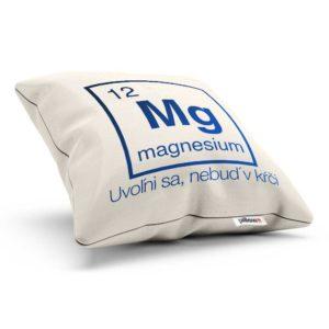 Vankúšik s chemickým prvkom magnesium a dômyselným nápisom