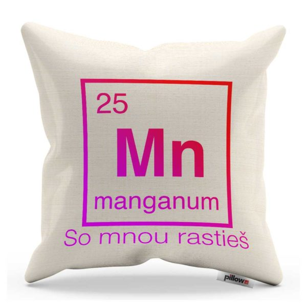 Vankúš s chemickým prvkom Mangán a vtipným nápisom
