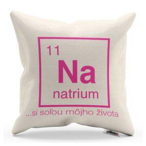 Vankúš s chemickým prvkom Sodík a vtipným nápisom