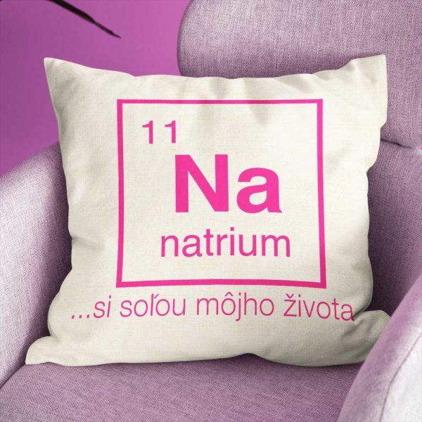 Vankúš s chemickým prvkom Sodík a pekným nápisom