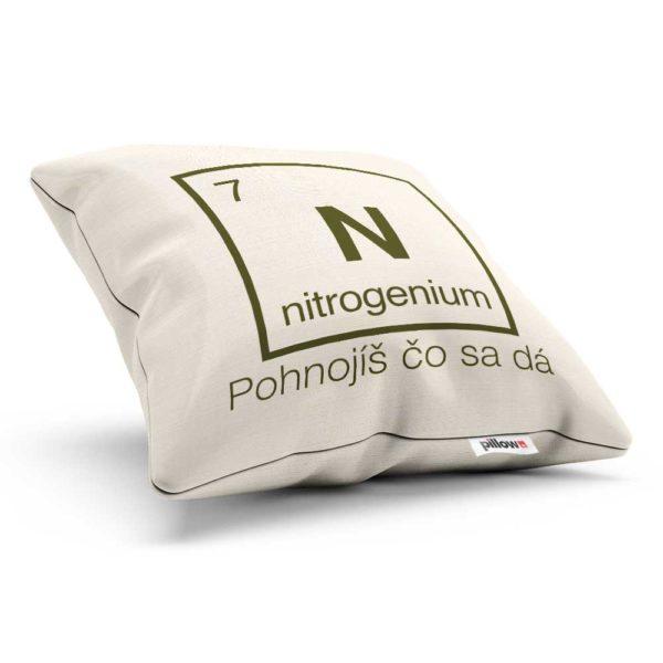 Vankúšik s chemickým prvkom nitrogenium a nadčasovým odkazom