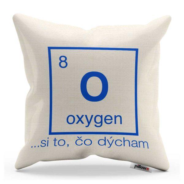 Vtipný dekoračný vankúš s nápisom Oxygen