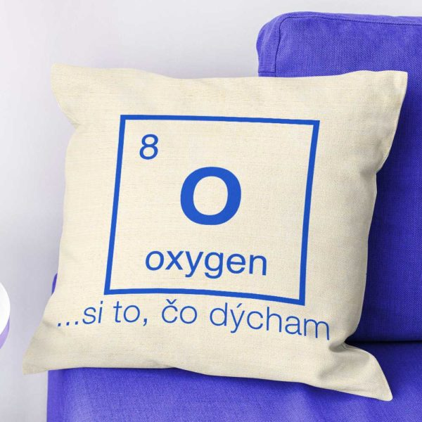 Vtipný dekoračný vankúšik s nápisom Oxygen