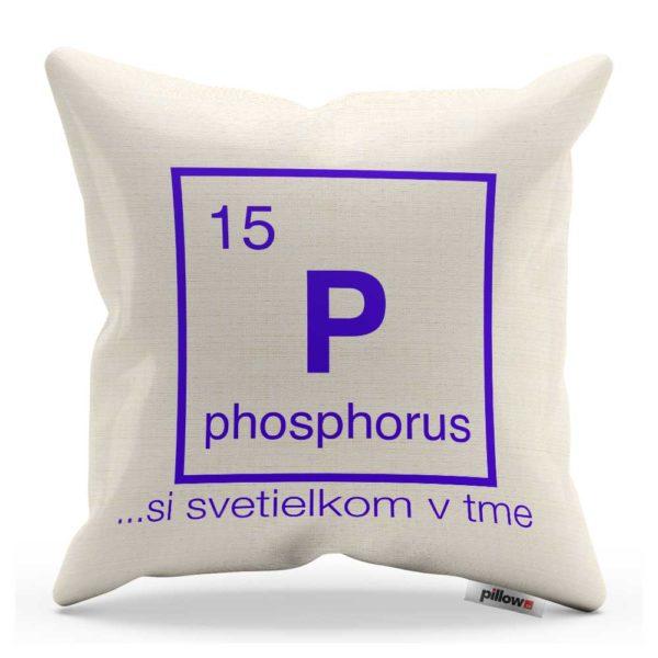 Vankúš s chemickým prvkom Fosfor a vtipným nápisom