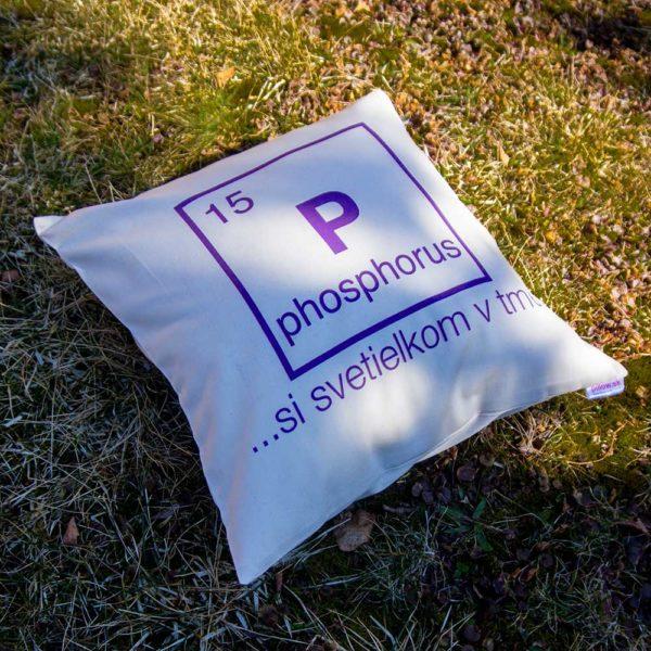 Vankúš s chemickým prvkom Fosfor a vtipným posolstvom