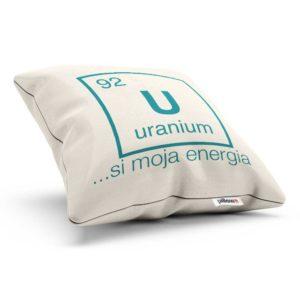 Vankúšik s nápisom a symbolom chemického prvku Urán