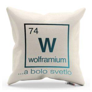 Žiarivý vankúš s chemickým prvkom Volfrám a pekným nápisom