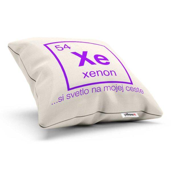 Vankúš v žiarivej farbe s chemickým prvkom Xenón