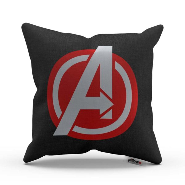 Obliečka na vankúš z ľanového plátna so symbolom superhrdinov Avengers
