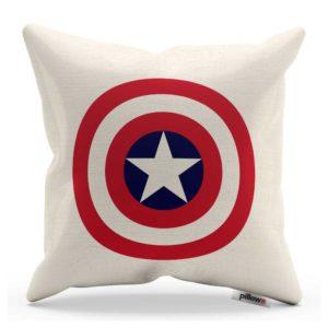Štít Kapitán America na ľanovom vankúši bielej farby