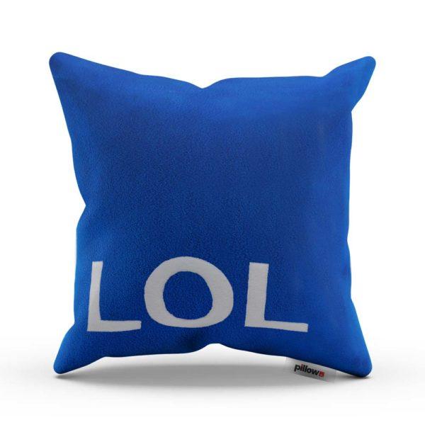 Veselý vankúš s textom LOL v sýto modrej farbe Vás vie rozveseliť každý deň